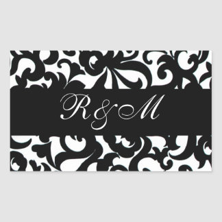 Monogrammed Black White Sticker