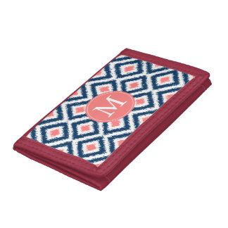 Monogrammed Blue and Coral Ikat Pattern Tri-fold Wallet