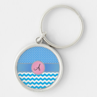 Monogrammed blue chevrons blue polka dots keychain