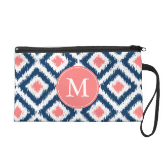 Monogrammed Blue Coral Diamonds Ikat Pattern Wristlet