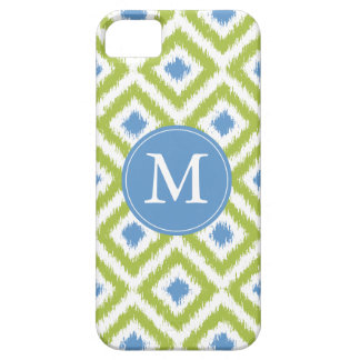 Monogrammed Blue Green Diamond Ikat Pattern Case For The iPhone 5