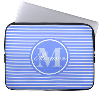 Monogrammed Blue H Stripe Laptop Sleeve
