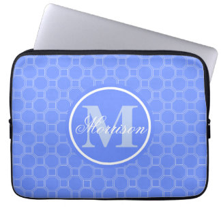 Monogrammed Blue HT Patterned Laptop Sleeves