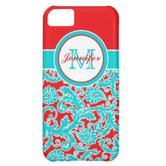 Monogrammed Blue, Red, White Damask iPhone 5 iPhone 5C Case