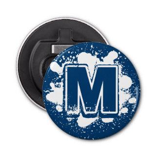 Monogrammed Blue Splatter Bottle Opener