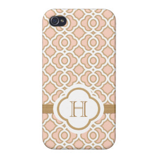Monogrammed Blush PInk Gold Moroccan iPhone 4/4S Case