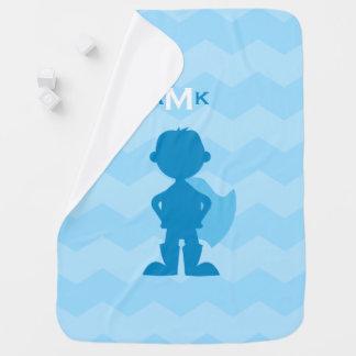 Monogrammed Boy Superhero Blue Silhouette Chevron Baby Blanket