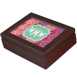 Monogrammed Bright Girly Trendy Floral Pattern Keepsake Box