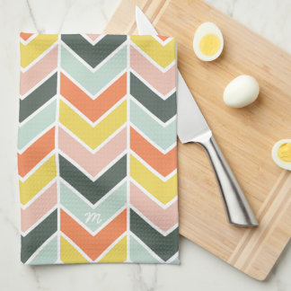 Monogrammed | Cheerful Chevron by Origami Prints Tea Towel