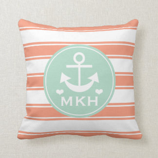 Monogrammed Coral and Teal Anchor Throw Pillow