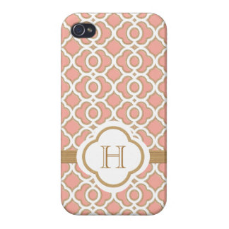 Monogrammed Coral Gold Moroccan Covers For iPhone 4