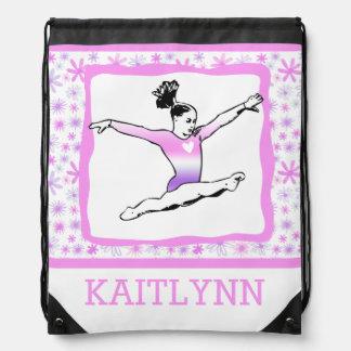 Monogrammed Dainty Floral Gymnastics Drawstring Bag