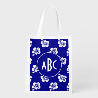 Monogrammed Dark Blue and White Hawaiian Pattern Reusable Grocery Bag