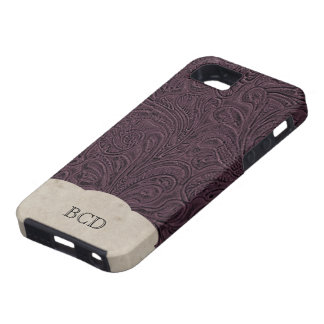Monogrammed Eggplant Leather Look Rustic Country iPhone 5 Case