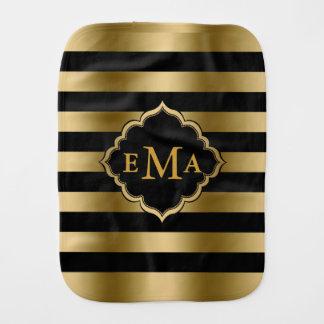 Monogrammed Gold & Black Stripes Geometric Pattern Burp Cloths
