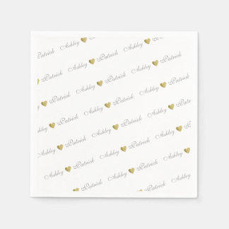 monogrammed + gold love hearts, wedding paper napkins