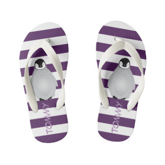 Monogrammed Gray Baby Penguin on Purple Stripes Thongs