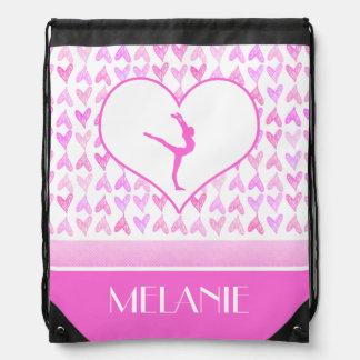 Monogrammed Gymnastics Pink Watercolor Hearts Drawstring Bag