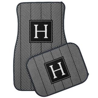 Monogrammed Herringbone Pattern Car Mat
