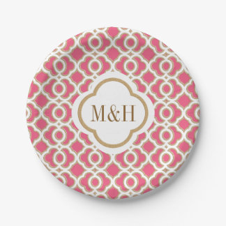 Monogrammed Hot Pink and Gold Moroccan Wedding 7 Inch Paper Plate