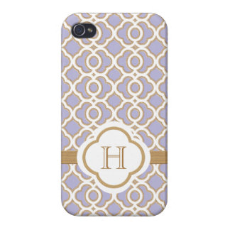 Monogrammed Lavender Gold Moroccan iPhone 4 Cover
