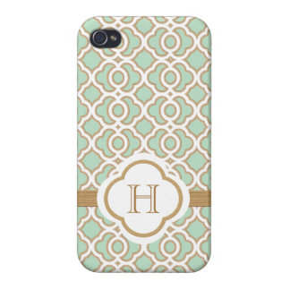 Monogrammed Mint Green Gold Moroccan Case For iPhone 4
