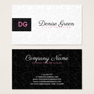 Monogrammed Modern Black & White Damasks Business Card