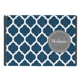 Monogrammed Navy Blue  & Grey Quatrefoil Cover For iPad Mini