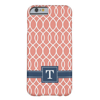Monogrammed Navy Blue Pink Lattice Pattern Barely There iPhone 6 Case