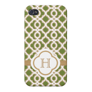 Monogrammed Olive Green and Gold Moroccan iPhone 4/4S Cover
