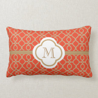 Monogrammed Orange and Gold Moroccan Pillow