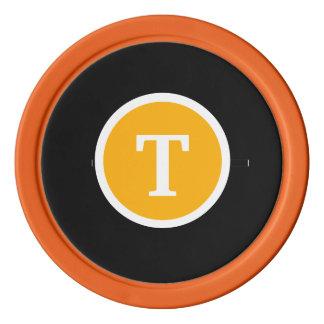 Monogrammed Orange Poker Chip Set