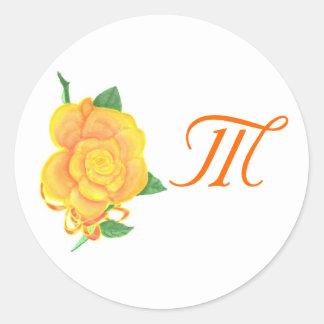 Monogrammed Orange Rose Wedding Seals Sticker