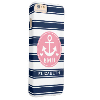 Monogrammed Pink and Navy Anchor Barely There iPhone 6 Plus Case