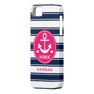 MONOGRAMMED PINK AND NAVY ANCHOR iPhone 5 COVERS