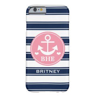 Monogrammed Pink and Navy Anchor Barely There iPhone 6 Case