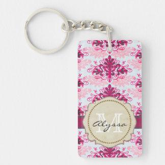 Monogrammed Pink Damask Key Ring