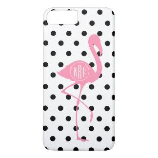 Monogrammed Pink Flamingo + Black Polka Dot iPhone 7 Plus Case