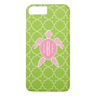 Monogrammed Pink Sea Turtle Green Quatrefoil iPhone 7 Plus Case