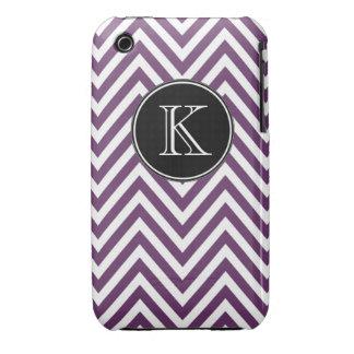 Monogrammed Purple Chevron Pattern iPhone 3 Case-Mate Case