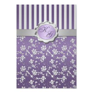 Monogrammed Purple, Gray Floral Striped Invitation