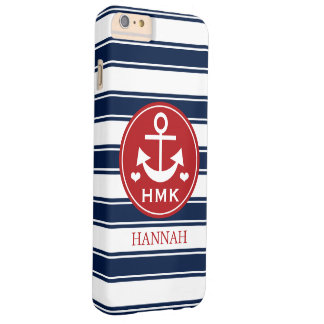 MONOGRAMMED RED AND NAVY ANCHOR BARELY THERE iPhone 6 PLUS CASE