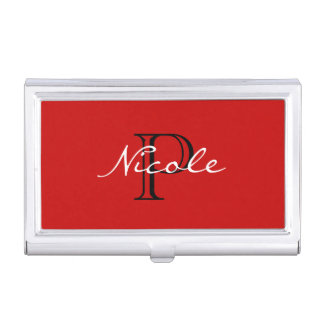 Monogrammed ~ Red Black and White Business Card Holder