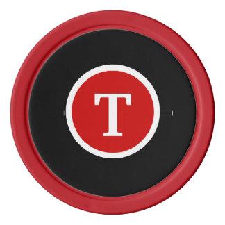 Monogrammed Red Poker Chip Set