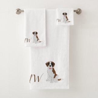 Monogrammed Saint Bernard Dog Design Bath Towel Set