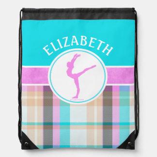 Monogrammed Summer Tartan Gymnastics Golly Girls Drawstring Bag