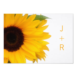 Monogrammed Sunflower Save the Date Announcement