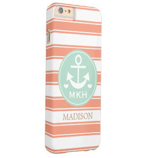 MONOGRAMMED TEAL AND CORAL ANCHOR BARELY THERE iPhone 6 PLUS CASE