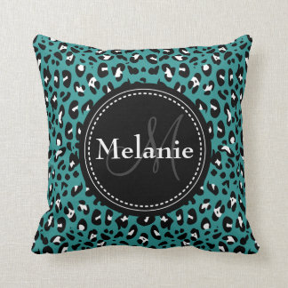 Monogrammed Teal Black White Leopard Pattern Cushion