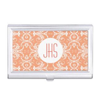 Monogrammed vintage floral orange PERSONALIZE Business Card Holder
